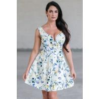 Blue Floral Print A-Line Sundress, Cute Summer Dress Online, Juniors Dress