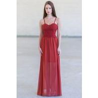 Rust Red Lace Maxi Dress, Cute Summer Maxi Dress Online