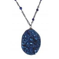 Blue rough stone pendant, Cute Boho Necklace