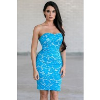 All Abloom Floral Lace Dress in Bright Blue