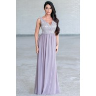 Bold and Beaded Maxi Dress in Pale Lavender Grey