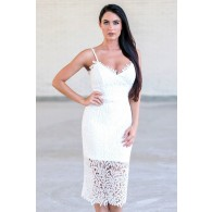 Off White Lace Bodycon Dress, Cute White Rehearsal Dresses