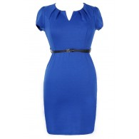 Posh and Professional Belted Pencil Dress in Blue - Plus Size