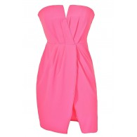 Neon Pink Chiffon Dress, Hot Pink Summer Party Dress, Neon Pink Tulip Skirt Dress