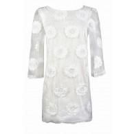 Cute White Dress, White Rehearsal Dinner Dress, White Bridal Shower Dress, Cute Summer Dress, Embroidered Sunflower Dress, White Embroidered Sheath Dress