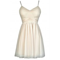 Cute Beige Dress, Beige Party Dress, Beige A-Line Dress, Beige Cocktail Dress, Beige Summer Dress, Off White Party Dress, Off White Cocktail Dress, Off White A-Line Dress