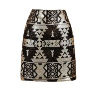 Black and Gold Sequin Skirt, Black and Gold Sequin Aztec Skirt, Black and Gold Geometric Skirt, Black and Gold Tribal Pattern Skirt, Cute Black and Gold Skirt