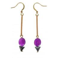 Cute Purple Earrings, Purple Drop Earrings, Purple Dangle Earrings, Purple and Gold Earrings