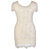 Beige Plus Size Dress, Plus Size Pencil Dress, Plus Size Lace Dress, Beige Lace Pencil Dress, Beige Plus Size Capsleeve Lace Dress