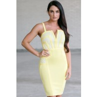 Cute Yellow Dress, Yellow Lace Cocktail Dress Online, Yellow Bandage Dress, Juniors Party Dress