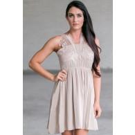 Beige Summer Dress, Cute Beige Sundress, Beige Party Dress