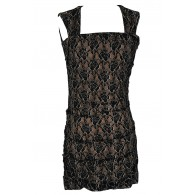 Metallic Lace Fitted Bodycon Dress in Black/Nude