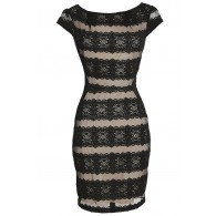 Night Falls Black and Nude Banded Lace Cap Sleeve Dress