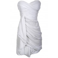 Dreaming of You Chiffon Drape Party Dress in White