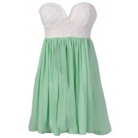 Sonya Flirty Lace and Chiffon Dress in White/Mint