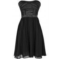 Different Angles Strapless Chiffon Designer Dress in Black