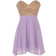 Strapless Floral Lace Bustier Dress in Lavender/Taupe