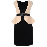 Foxy Lady Black and Beige Peplum Designer Dress