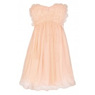 Raindrops on Roses Chiffon Designer Dress in Peach by Minuet