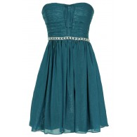 Metallic Shimmer Embellished Strapless Dress in Teal