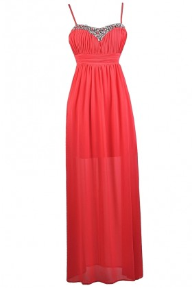 Cherry Red Maxi Dress, Rhinestone Red Maxi Dress, Cute Red Prom Dress, Red Formal Dress