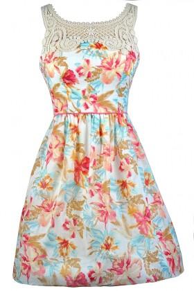 Cute Floral Print Dress, Cute Summer Dress, Tropical Print Sundress, Hawaiian Print Sundress, Hawaiian Print Summer Dress, Coral and Blue Floral Print Dress, A-Line Floral Print Dress, Floral Print Crochet Lace Dress