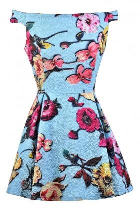Sky Blue Floral Print Dress, Pale Blue Floral Print Dress, Bright Floral Print Sundress, Off Shoulder Floral Print Dress, Off Shoulder A-Line Sundress