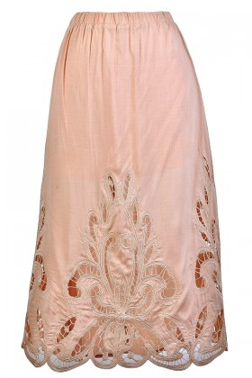 Cute Pink Skirt, Lasercut Midi Skirt, Light Pink Lasercut Skirt, Pale Pink Midi Skirt, Cute Summer Skirt