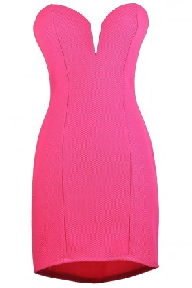 Hot Pink Strapless Dress, Bright Pink Party Dress, Bright Pink Sweetheart Dress, Cute Pink Dress