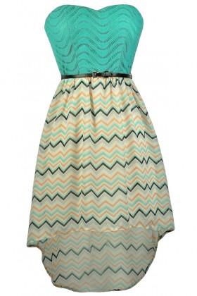 Cute Chevron Dress, Chevron High Low Dress, Teal Chevron Dress, Chevron Belted Dress, Chevron Party Dress