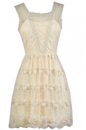 Cream Embroidered Dress, Cute Cream Dress, Cream A-Line Dress, Cute Summer Dress