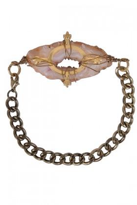 Crystal Stone Bracelet, Rough Crystal Chain Bracelet, Cute Jewelry