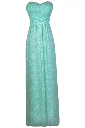 Seafoam Green Maxi Bridesmaid Dress, Mint Maxi Dress, Cute Mint Dress