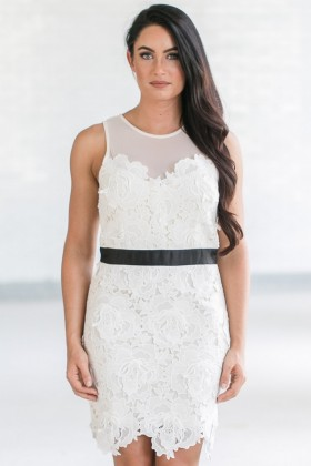 Ivory Keys Banded Lace Sheath Dress