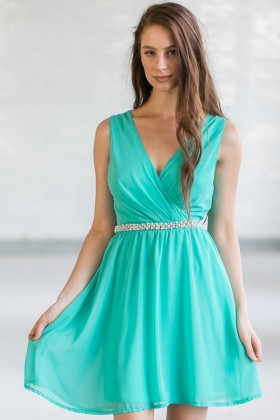 Delicate Balance Pearl Embellished Dress in Jade