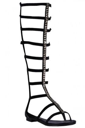 Black Stud Gladiator Sandals, Cute Hippie Sandals
