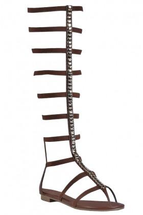 Brown Gladiator Sandals, Cute Boho Sandals, Studded Gladiator Sandals