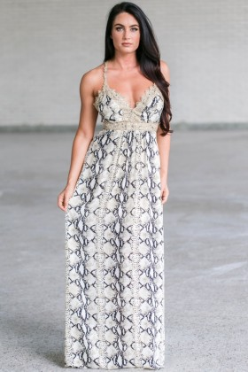 Cute Snakeskin Maxi Dress, Animal Print Maxi Dress, Navy and Gold Printed Maxi