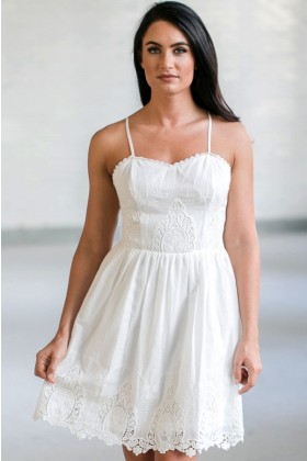 White Eyelet Dress, Cute White Sundress, White Summer Dress Online, Boutique Dresses