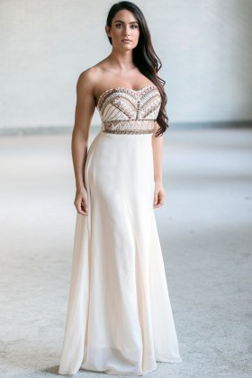 Cream Beaded Maxi Dress, Cute Summer Maxi Dress, Online Boutique Dress