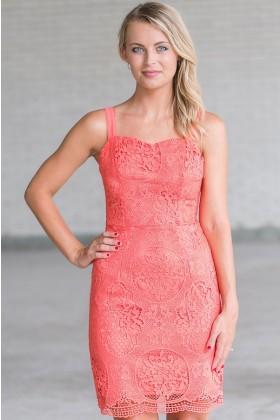 Hydrangea Garden Crochet Lace Dress in Coral