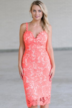 Coral Lace Pencil Dress, Coral Cocktail Dress, Cute Coral Summer Dress