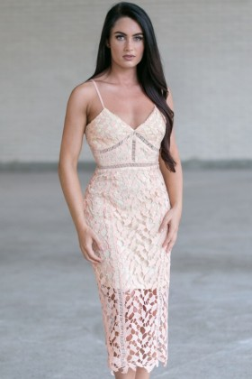 Peach Lace Midi Dress, Cute Peach Summer Dress, Peach Lace Cocktail Dress