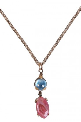 Cool Tones Turquoise and Pink Stone Pendant
