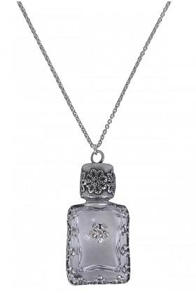 Cute Silver Bottle Necklace, Silver Bottle Pendant, Cute Boho Jewelry