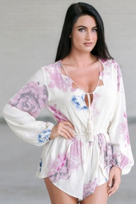 Watercolor Floral Print Romper, Cute Summer Romper, Pink Floral Swimwear Cover-up