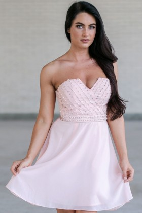 Pale Pink Embellished Dress, Pink Bridesmaid Dress, Pink Party Dress, Cute Pink Dress