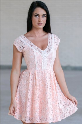 Peach Pink Lace Summer Dress, Cute Lace Dress, Lace A-Line Dress
