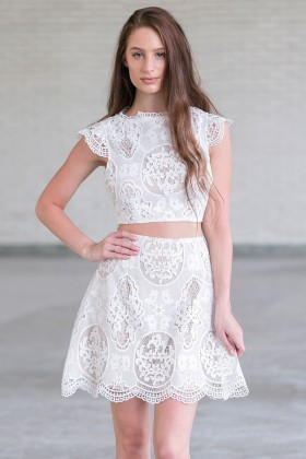 Ivory Lace Two Piece Outfit, Cute Ivory Lace Outfit Online