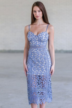 Sky Blue Crochet Lace Pencil Dress, Cute Blue Lace Cocktail Dress, Blue Lace Summer Dress Online